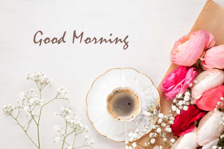 Good morning coffee images with flower