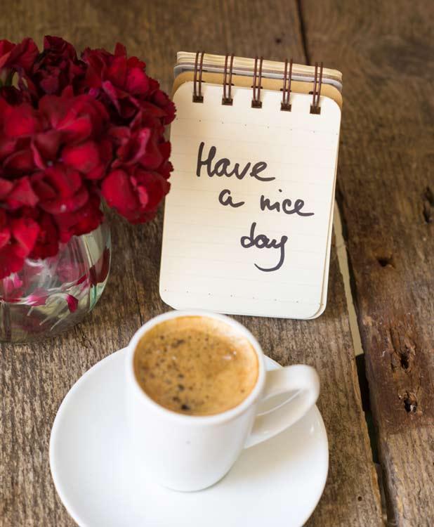 Good morning romantic rose coffee