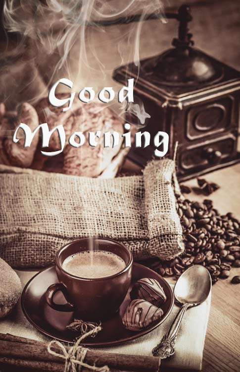 Good morning wish with coffee
