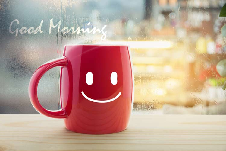 good morning smiling coffee mug