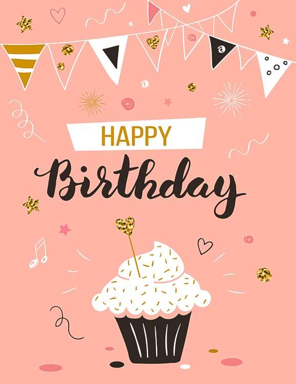 Birthday wishes with cake illustration