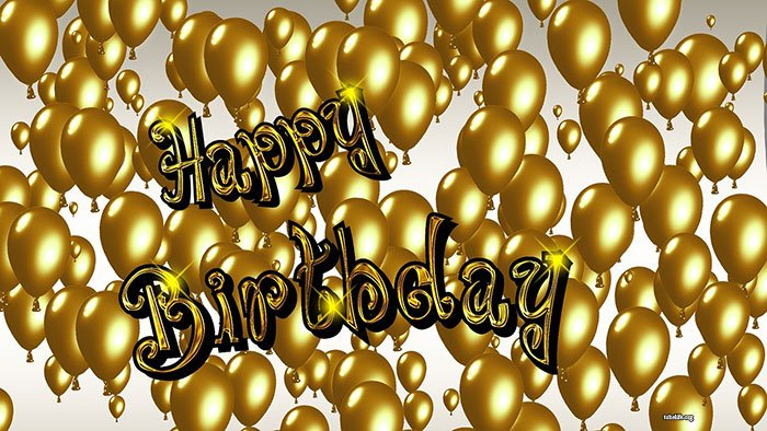 Happy Birthday Balloon Banner Gold
